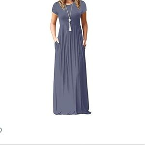 Short sleeve grey maxi dress L NWOT